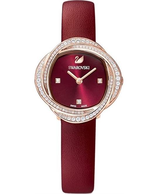 đồng hồ nữ màu đỏ Swarovski Crystal Flower Watch 30mm