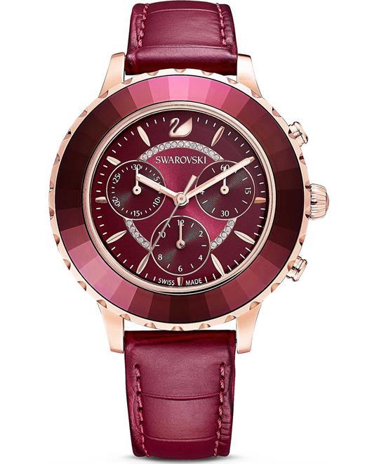 đồng hồ nữ màu đỏ Swarovski Octea Lux Chrono Watch 39.5mm