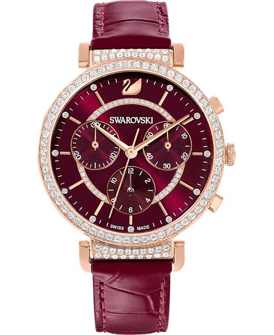 đồng hồ nữ màu đỏ Swarovski Passage Chrono Watch 36mm
