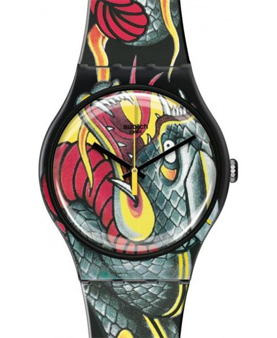 Swatch fired snake printed dial plastic strap unisex watch 41mm