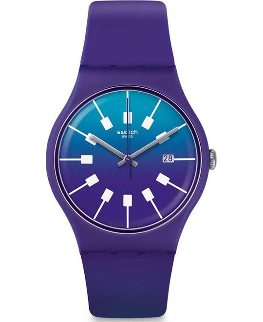 Swatch Men's Crazy Sky Purple Rubber Watch 41mm