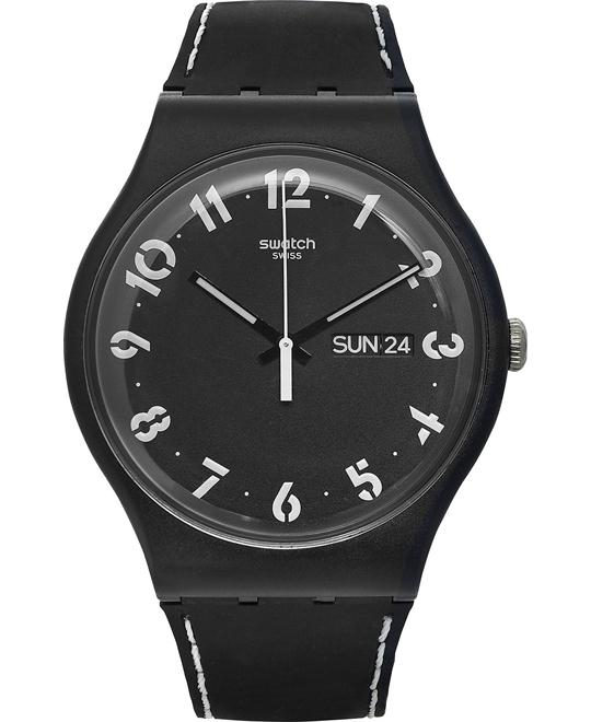 Swatch Unisex Swiss Scoprimi Black Silicone Watch 41mm