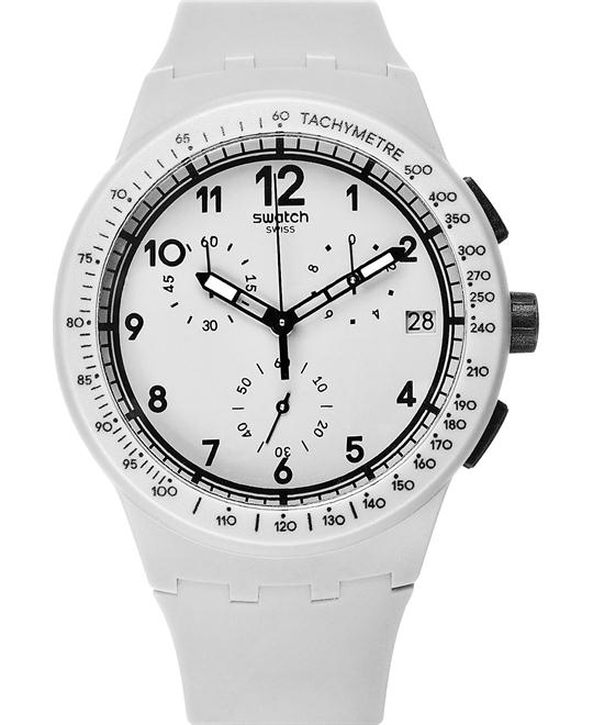 Swatch Watch, Unisex Swiss Chronograph Gray Silicone, 42mm