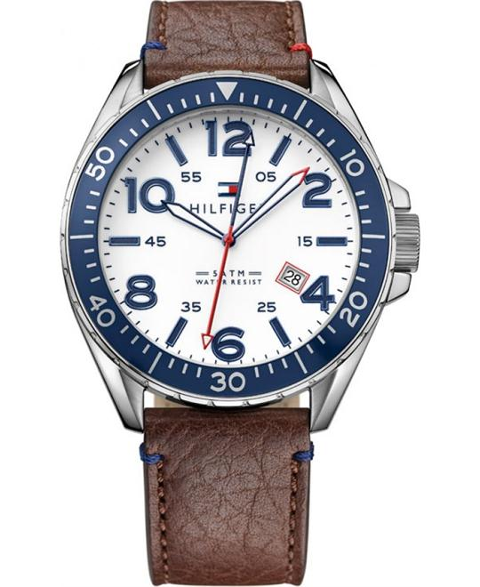 Tommy Hilfiger Brown Leather Strap Men's Watch 46mm