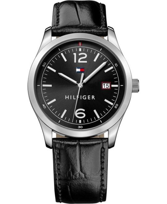 Tommy Hilfiger Men's Table Black Leather Strap Watch 41mm