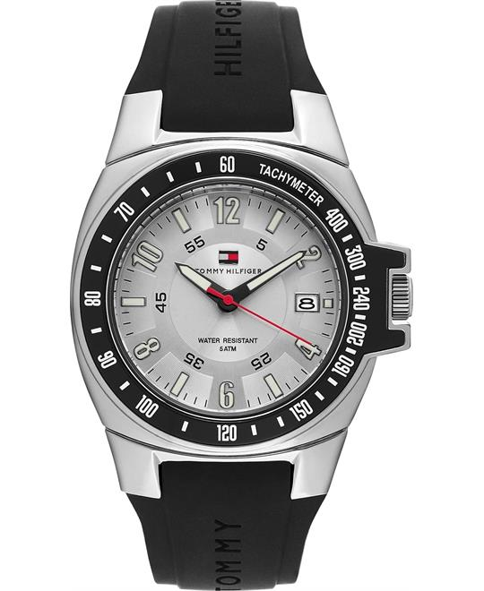 Tommy Hilfiger Silvery White Dial Black Rubber Men's Watch 40mm