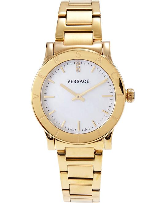 Versace Acron Diamond Gold Watch 33mm