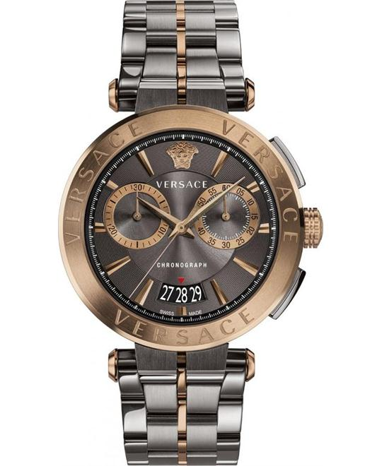 VERSACE AION BRONZE-GRAY CHRONO WATCH 45MM