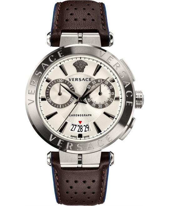 VERSACE AION BROWN CHRONO WATCH 45MM
