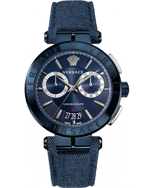 VERSACE AION BLUE DENIM CHRONO WATCH 45MM