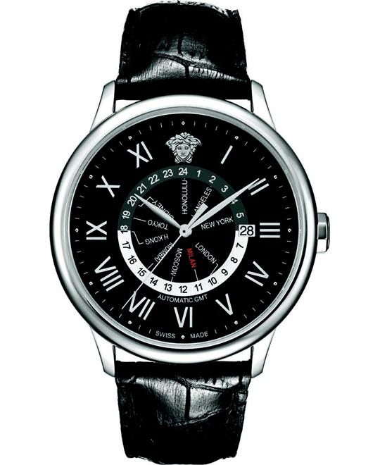 Versace Business Dual Time Black Date Watch 43mm