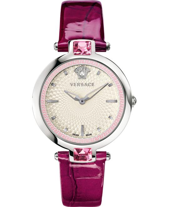 Versace Olympo Crystal Violet Crocodile Watch 37mm