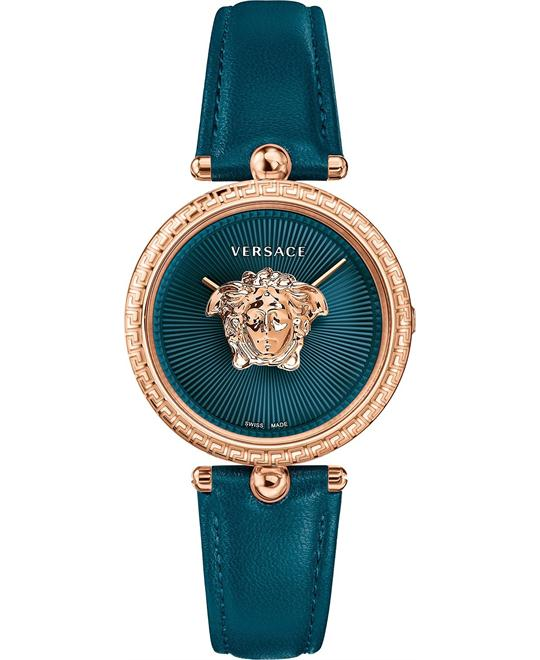 dong ho Versace Palazzo Empire Teal Leather Watch 34mm