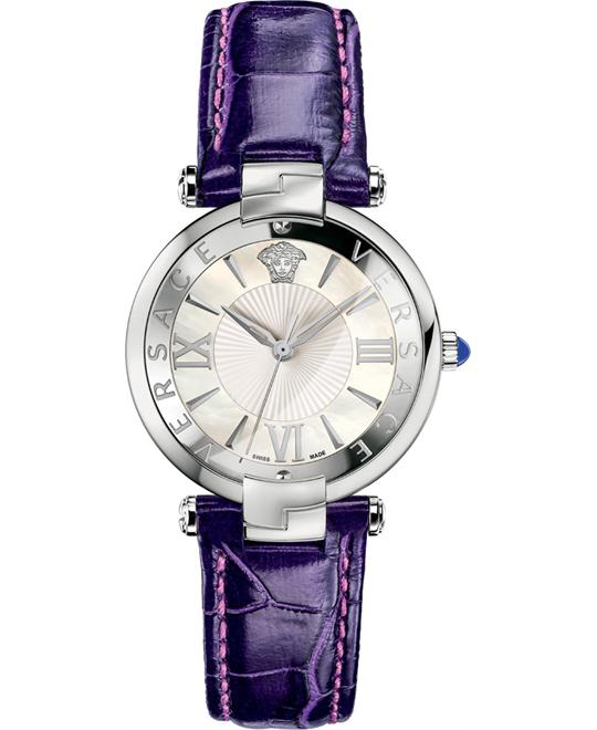 Versace Rêvive Violet Leather Watch 35mm