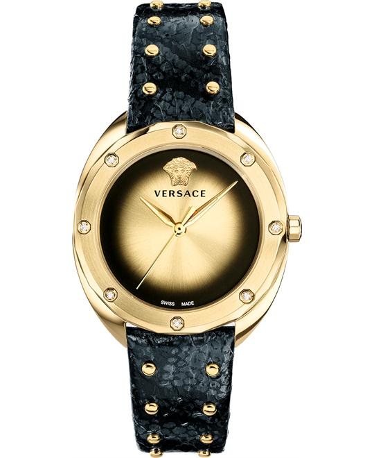 Versace Shadov Black Leather Watch 38mm