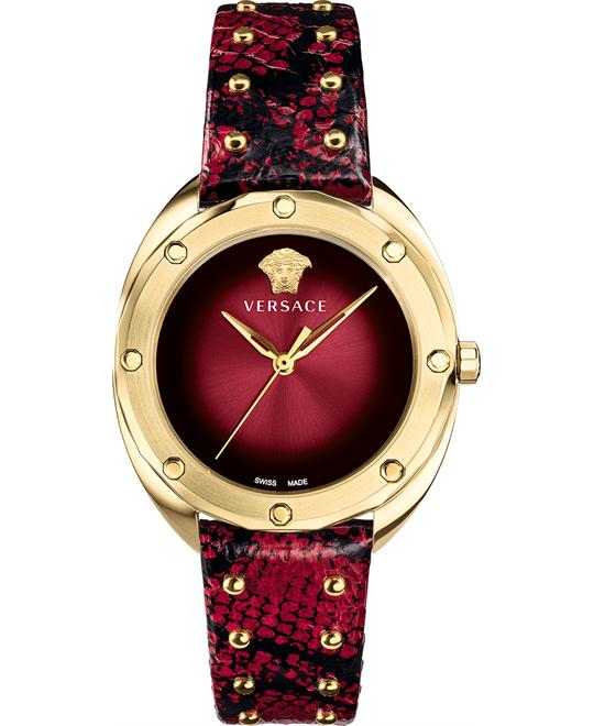 Versace Shadov Red Leather Watch 38mm
