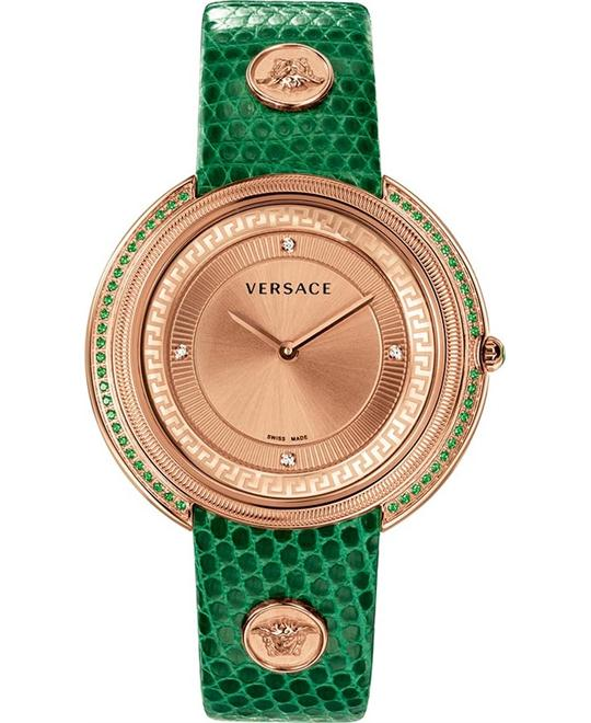 Versace Thea Diamond Gold IP Blue Watch 39mm