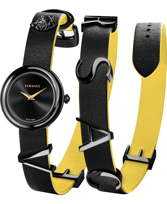 Versace V-Flare Double Black Leather Watch 28mm