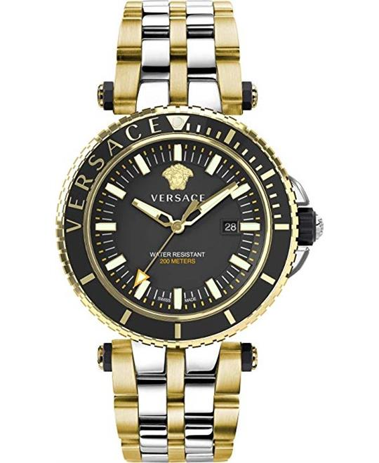đồng hồ Versace V-Race Black Two Tone Watch 46mm