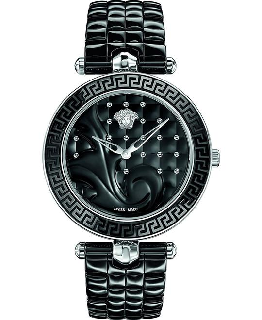VERSACE Vanitas Black Quilted Ladies Watch 40mm