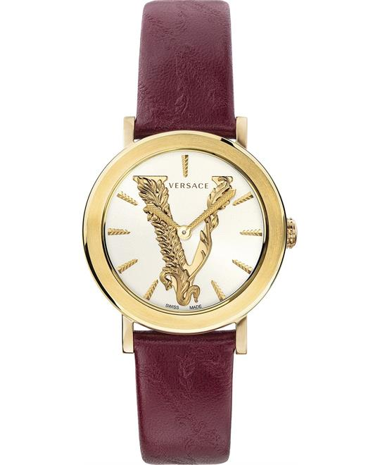 đồng hồ Versace Virtus Burgundy Leather Strap Watch 36mm