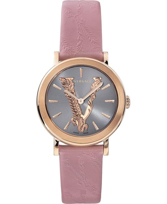đồng hồ Versace Virtus Pink Leather Strap Watch 36mm