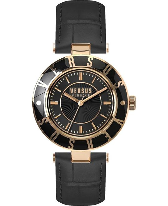 Versus by Versace Logo Black Leather Watch 34.5mm