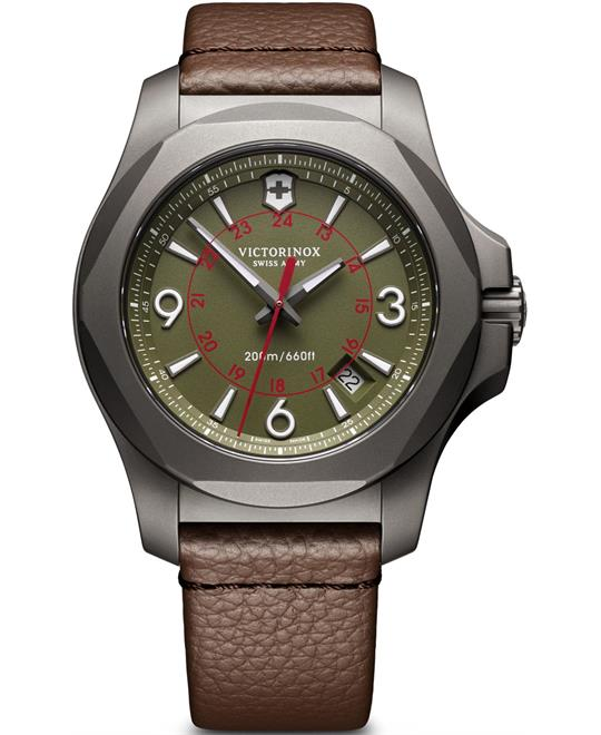 Victorinox I.N.O.X 241779 Green Dial Brown Leather Watch 43mm