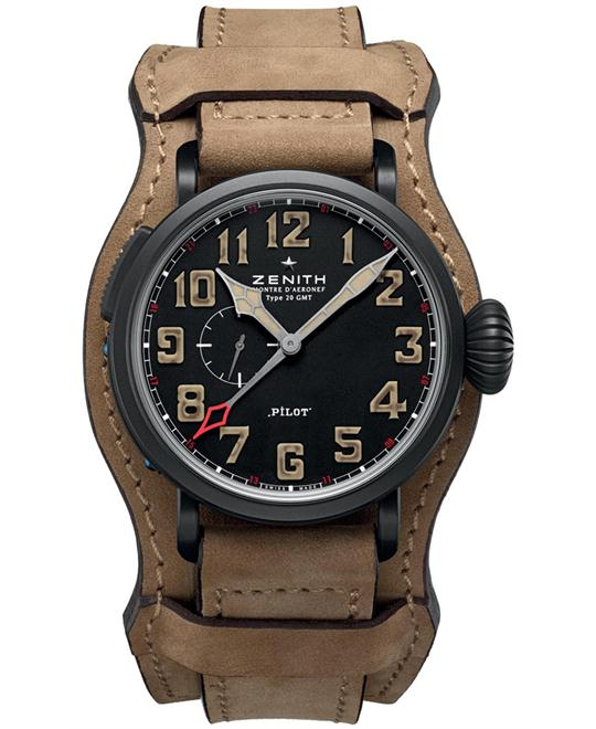 Zenith Mens Leather Sapphire Brown 48mm