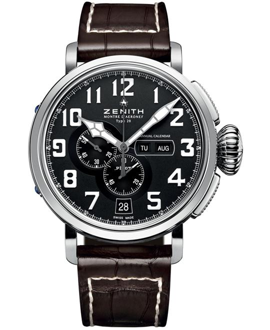 Zenith Mens Stainless Steel Leather Brown 48mm