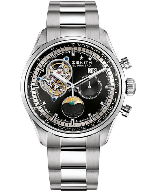 đồng hồ moonphase Zenith Mens Stainless Steel Polished 45mm