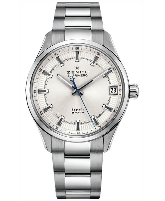 Zenith Mens Stainless Steel Resistant Sapphire 40mm