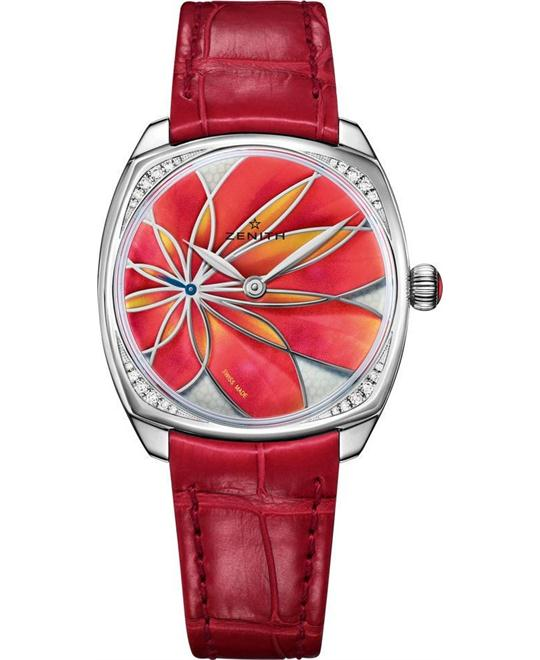 Zenith Pilot Mother of Pearl Red Orange Flower Motif 33mm